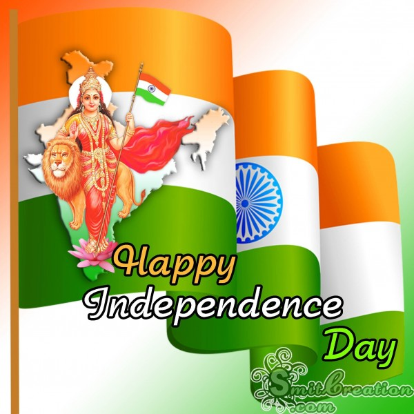 Happy Independence Day Flag With Bharat Mata