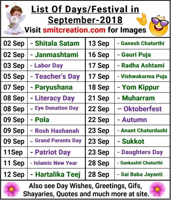 List Of Days/Festival in September – 2018