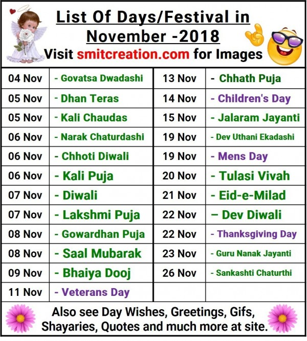 List Of Days/Festival in November– 2018