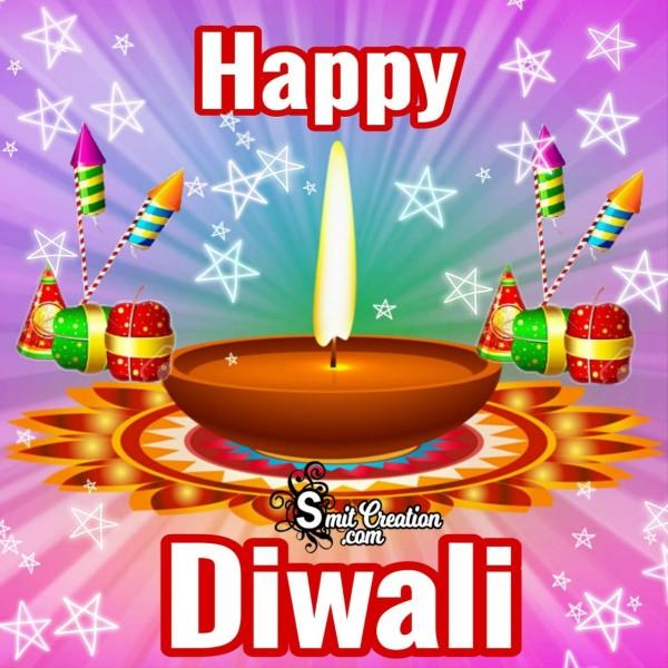Happy Diwali Card With Cracker And Diya
