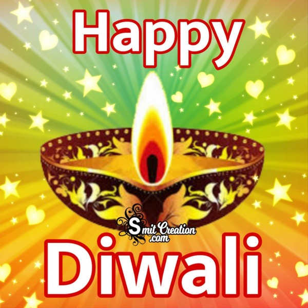 Happy Diwali Card With Diya