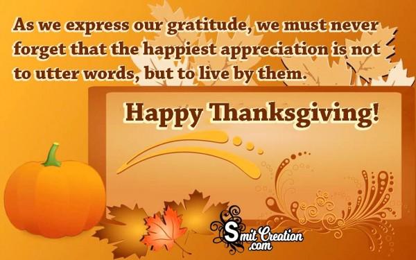 Happy Thanksgiving Quote For Appreciaton