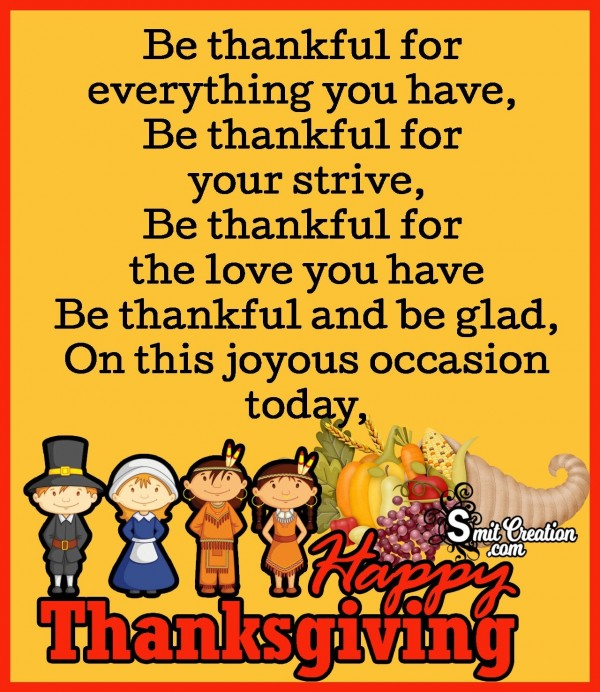 Thanksgiving Poem - Be Thankful In Life