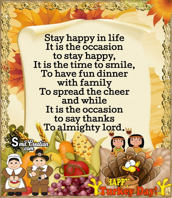 Thanksgiving Poem - Stay Happy In Life