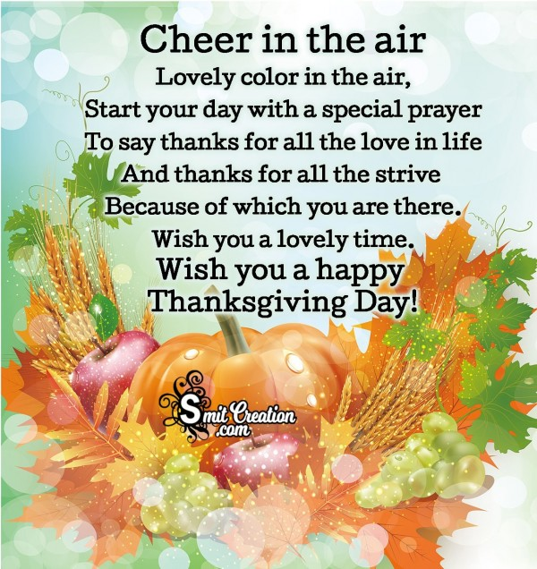 Thanksgiving Poem - Cheer In The Air