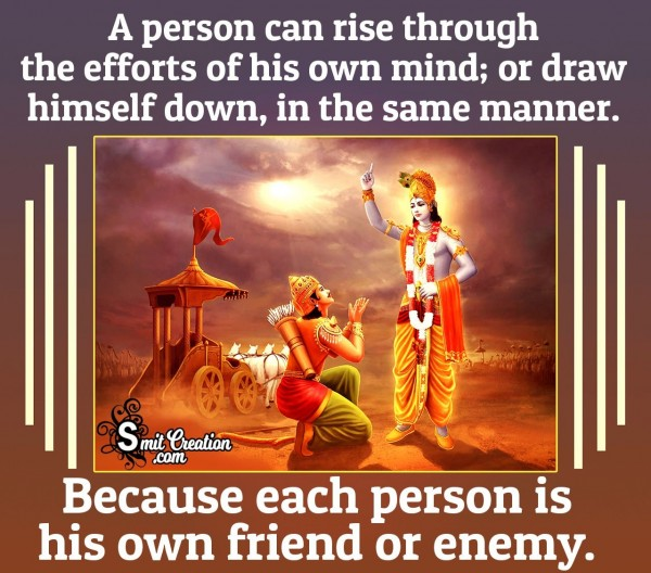 A Person Can Rise Through The Efforts Of His Own Mind