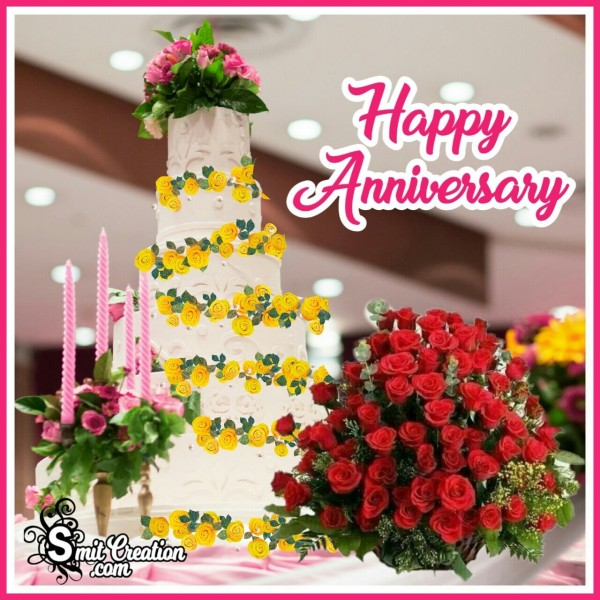 Happy Anniversary Cake With Bouquet