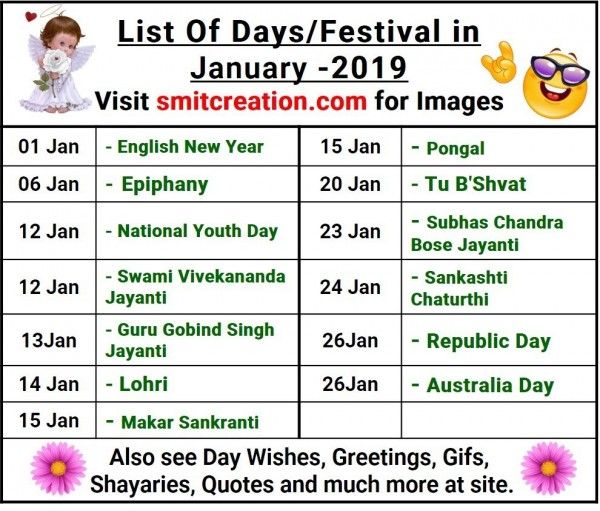 List Of Days/Festival in January – 2019