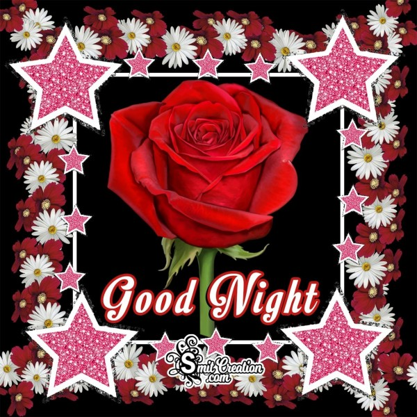 Good Night Rose Flower With Stars