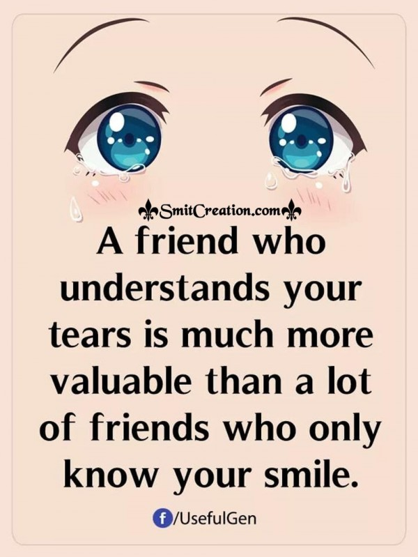 A Friend Who Understands Your Tears Is Much More Valuable