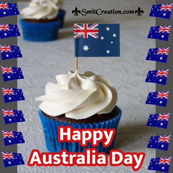 Happy Australia Day Flag On Cup-Cake