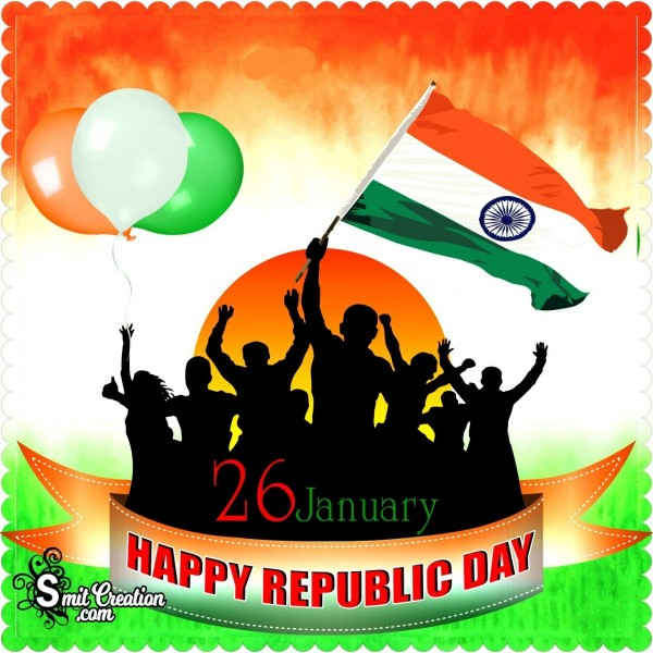 Happy Republic Day Youth With Flag And Balloons