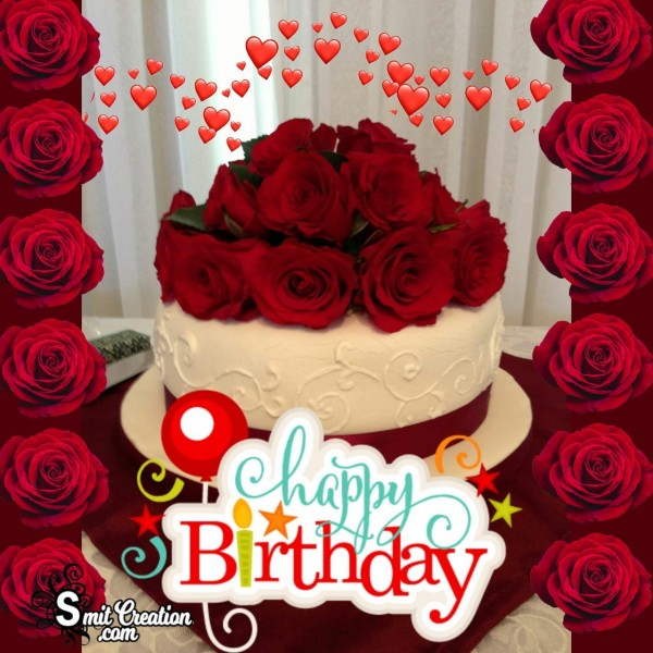 Happy Birthday With Rose Flowers