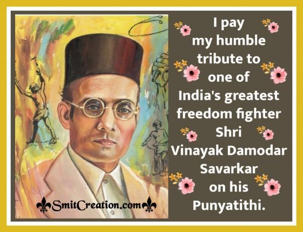 Tribute To Shri Vinayak Damodar Savarkar On His Punyatithi