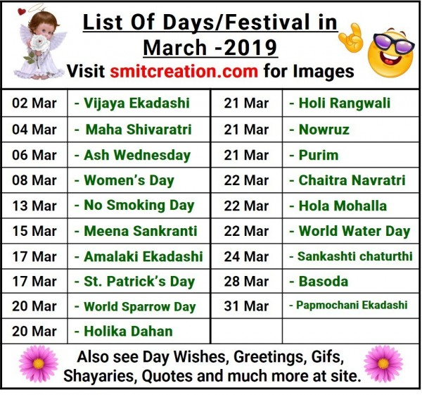 List Of Days/Festival in March– 2019