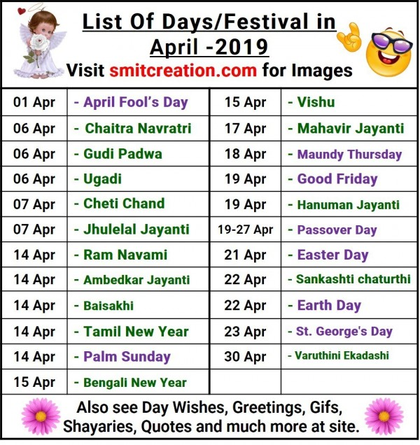 List Of Days/Festival in April– 2019