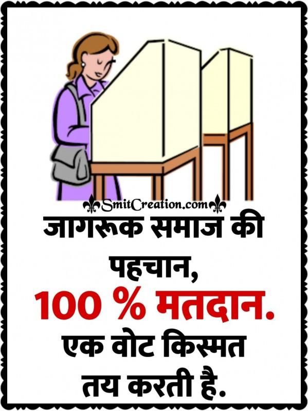 Jagruk Samaj Ki Pahchan, 100% Matdan