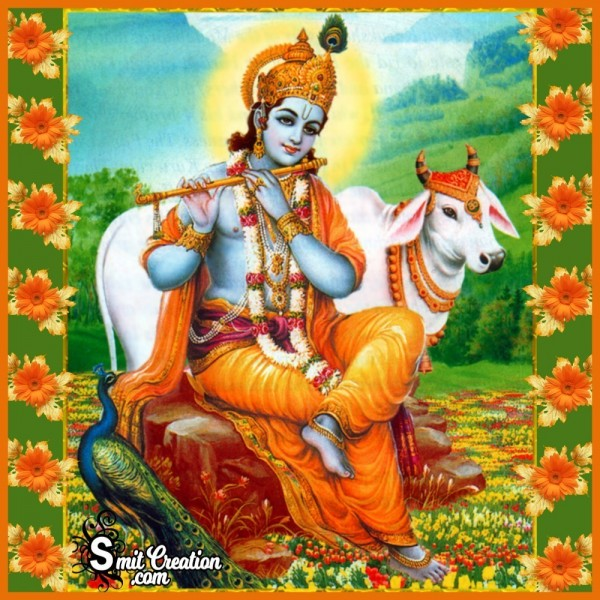 Lord Krishna With Flute And Cow