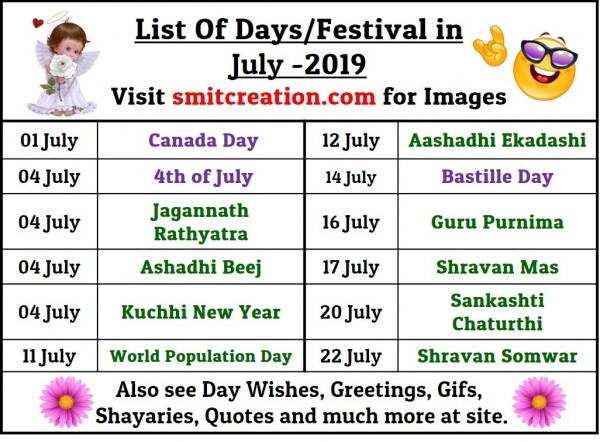 List Of Days/Festival in July– 2019