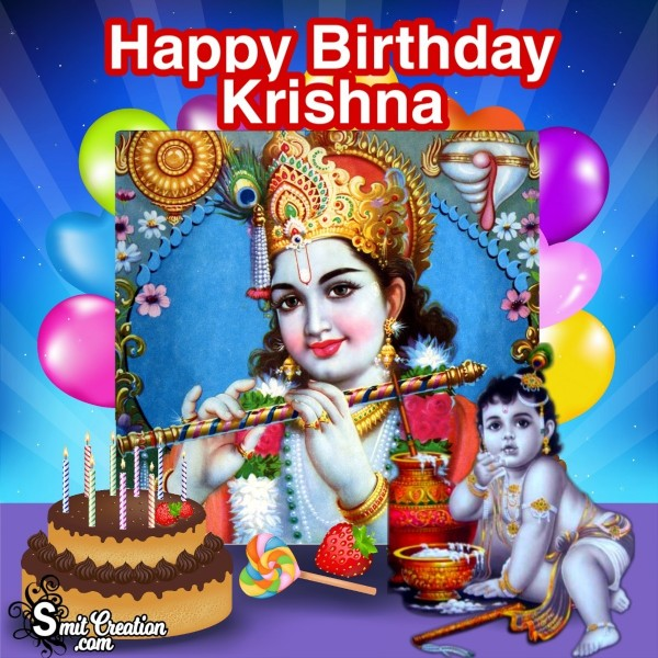 Happy Birthday Krishna Card For Wish