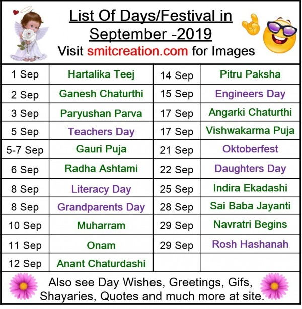 List Of Days/Festival in September – 2019