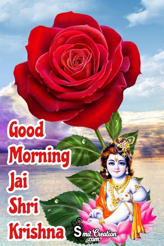 Good Morning Bal Krishna Rose Image