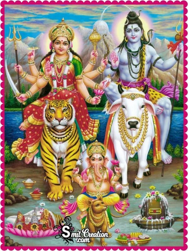 Bhagwaan Shiva With Durga Mata And Ganesha