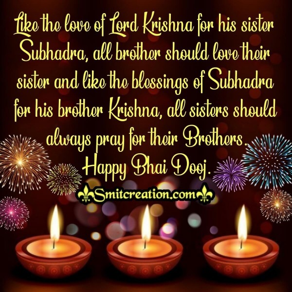 Happy Bhaidooj Quote Of Krishna And Subhadra