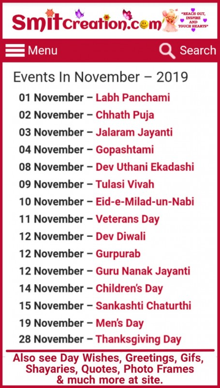 List Of Days/Festival in November – 2019