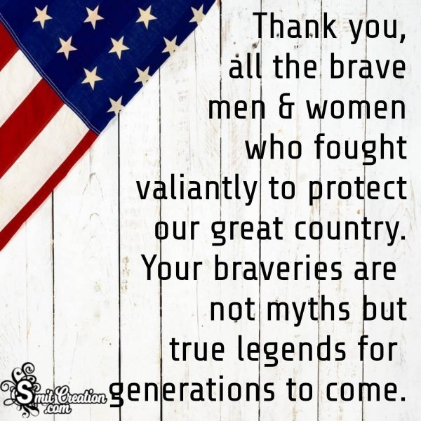 Thank You Message For Veterans Day
