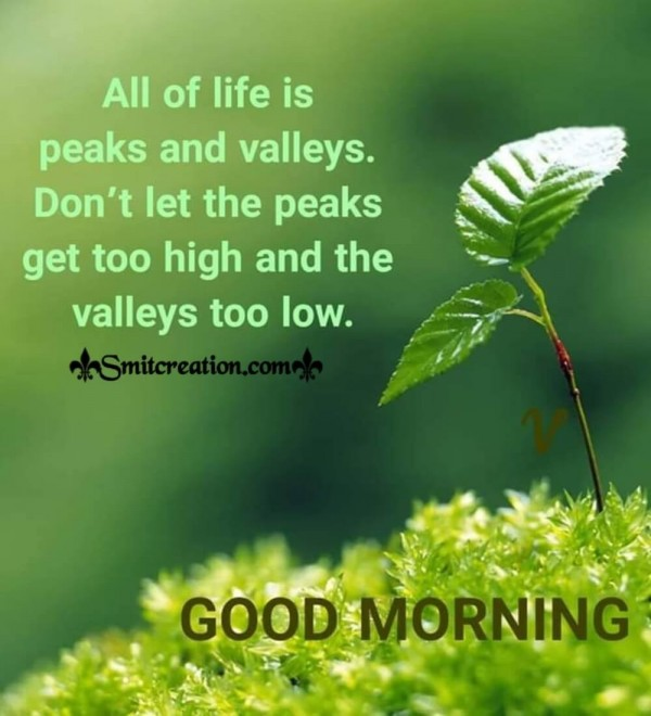 Good Morning Life Is Peaks And Valleys