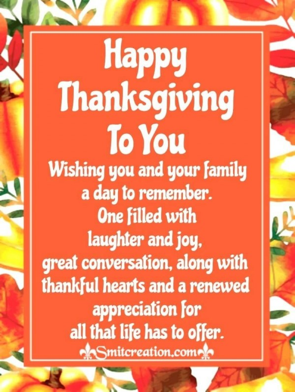 Thanksgiving Wishes To You And Your Family