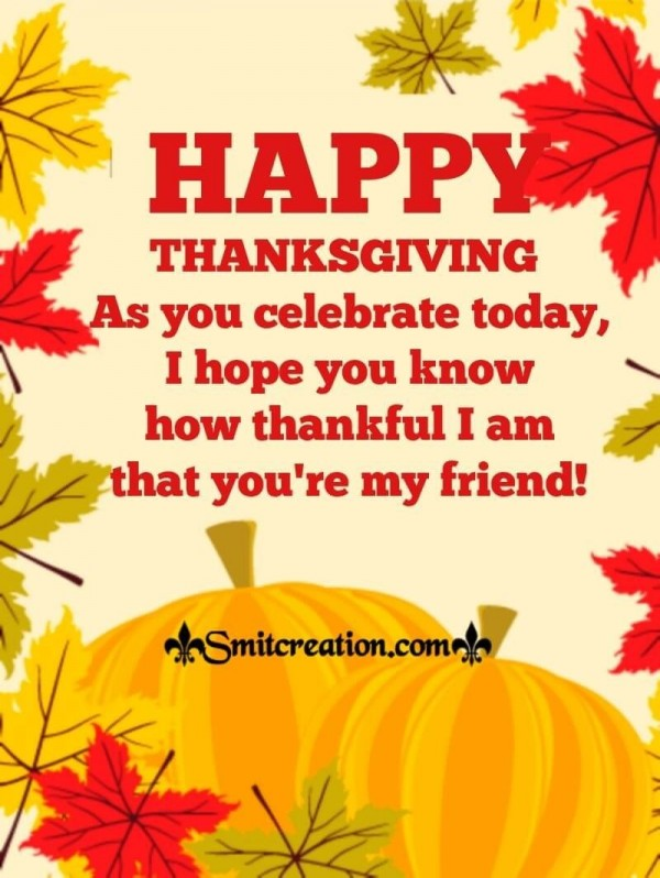 Happy Thanksgiving Wish For Friend