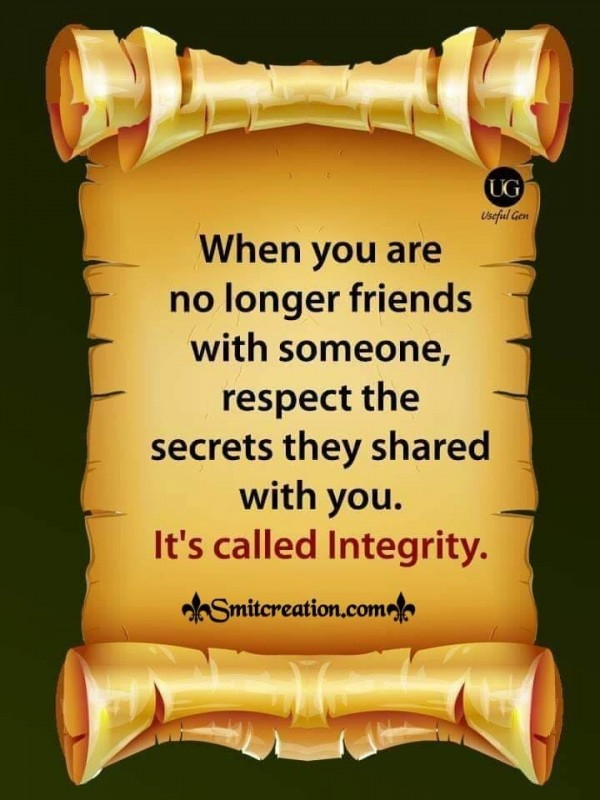 Respect The Secret Of Friends Shared With You