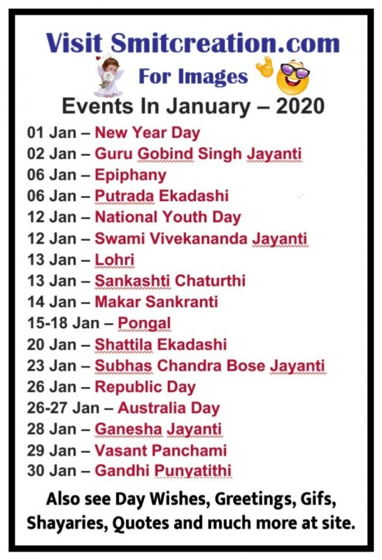 List Of Days/Festival in January – 2020