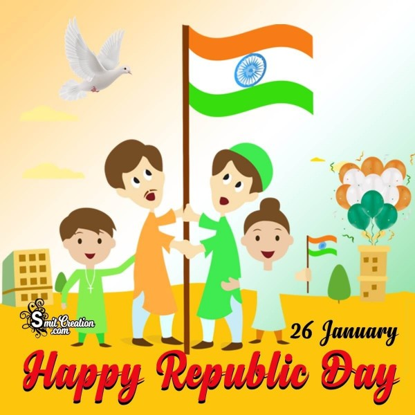 Happy Republic Day Hoisting Flag Card