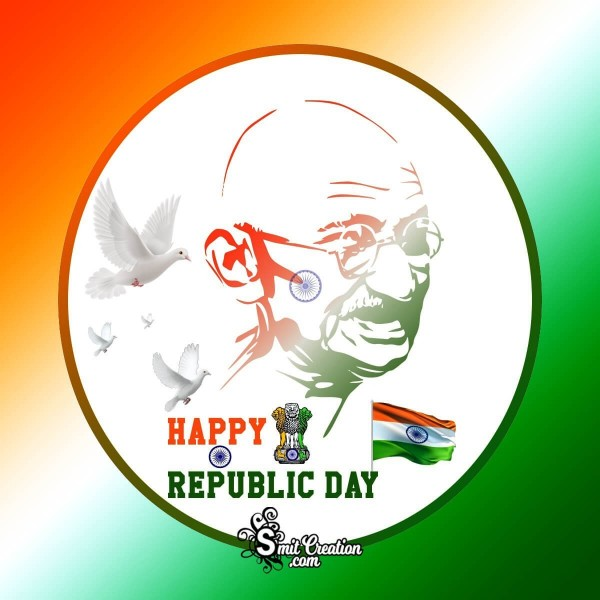 Happy Republic Day Gandhiji Card