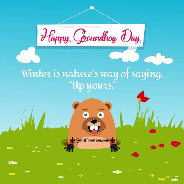 Happy Groundhog Day Winter Card