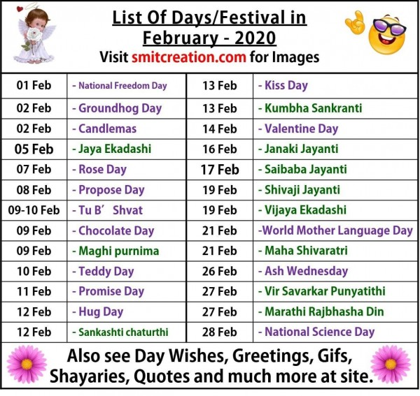List Of Days/Festival in February– 2020