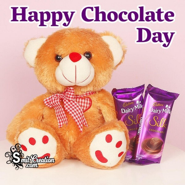 Happy Chocolate Day Card With Teddy Bear
