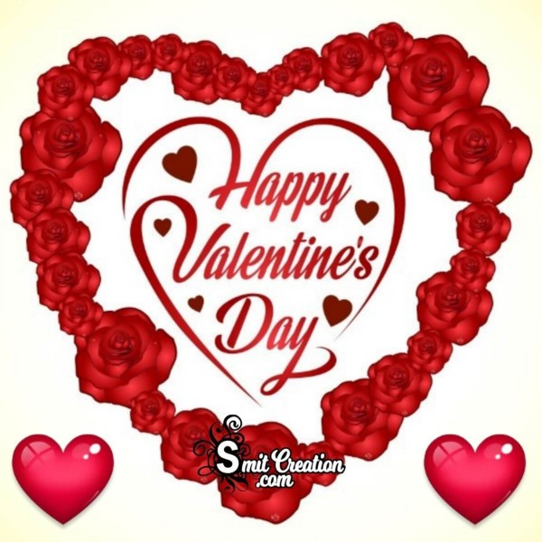 Happy Valentine Day Roses Heart Card