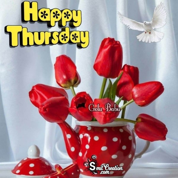 Happy Thursday Red Tulips Card