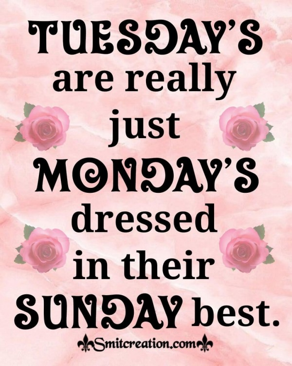 Tuesday's Are Just Monday's Dressed In Their Sunday Best