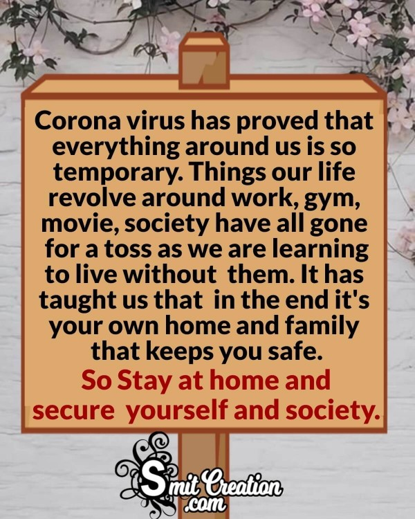 Corona Virus Healthy Life Quote