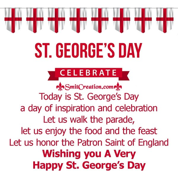 Wishing you A Very Happy St. George's Day.