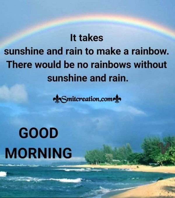 Good Morning Quote On Rainbow