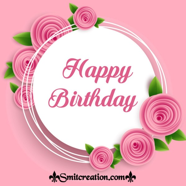 Happy Birthday Pink Flower Card