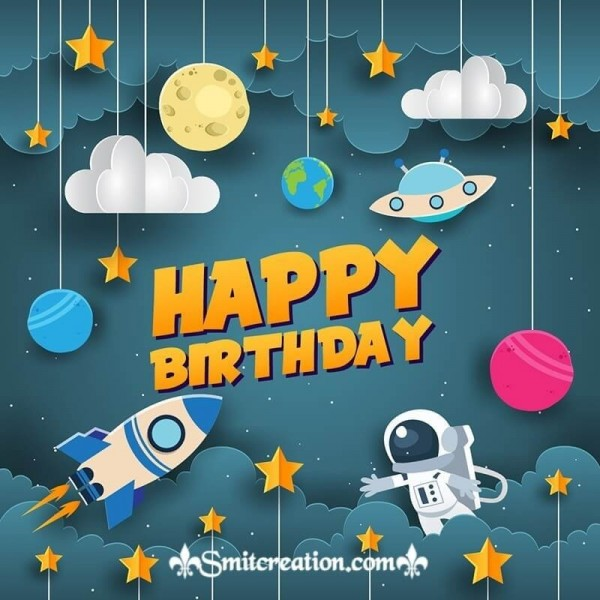 Happy Birthday Night Space Card