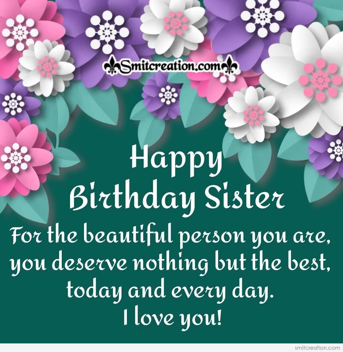 to my beautiful sister  happy birthday card