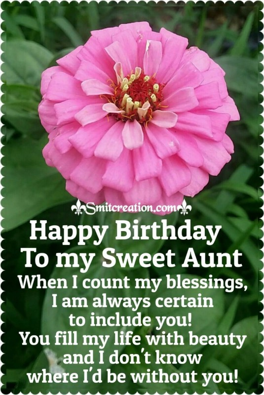 Happy Birthday Card For My Sweet Aunt